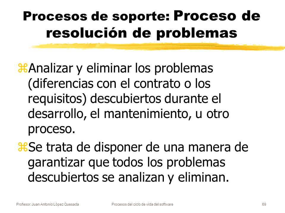 Profesor: Juan Antonio López QuesadaProcesos del ciclo de vida del software69 Procesos de soporte: Proceso de resolución de problemas zAnalizar y elim