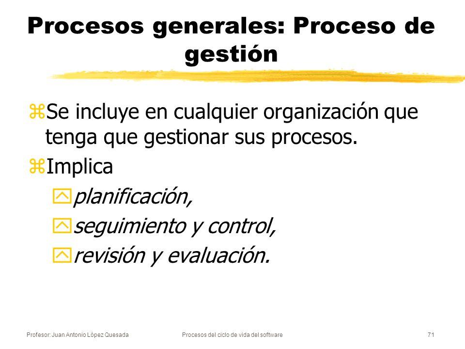 Profesor: Juan Antonio López QuesadaProcesos del ciclo de vida del software72 Procesos generales: Proceso de infraestructura zEstablece la infraestructura necesaria para el resto de procesos (para el desarrollo, la explotación o el mantenimiento): yhardware, ysoftware, yherramientas, ynormas, yInstalaciones.