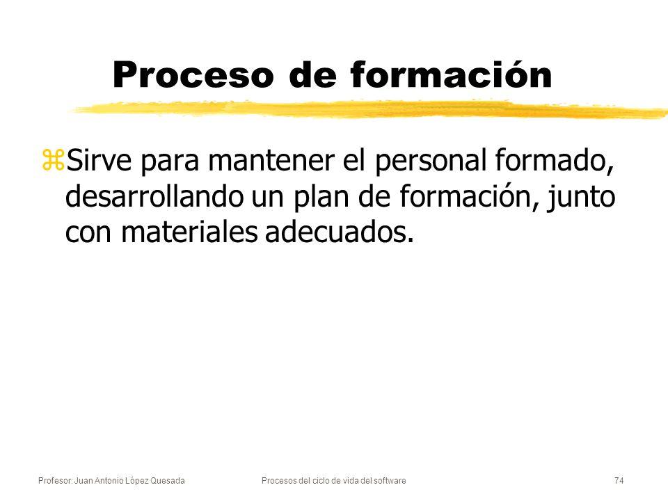 Profesor: Juan Antonio López QuesadaProcesos del ciclo de vida del software74 Proceso de formación zSirve para mantener el personal formado, desarroll