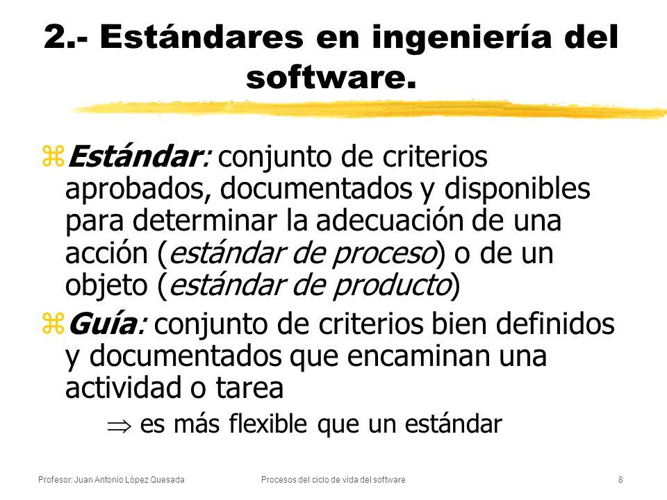 Profesor: Juan Antonio López QuesadaProcesos del ciclo de vida del software8 2.- Estándares en ingeniería del software. zEstándar: conjunto de criteri