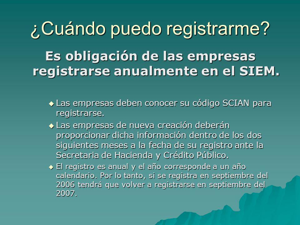 Es obligación de las empresas registrarse anualmente en el SIEM.