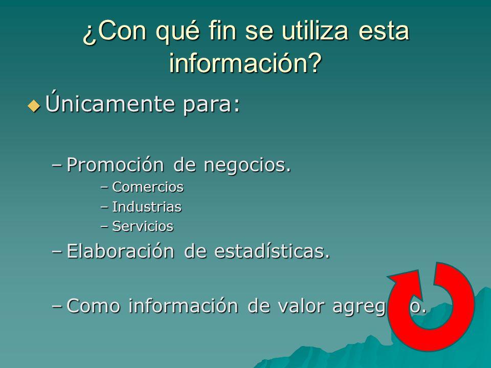 ¿Con qué fin se utiliza esta información.Únicamente para: Únicamente para: –Promoción de negocios.