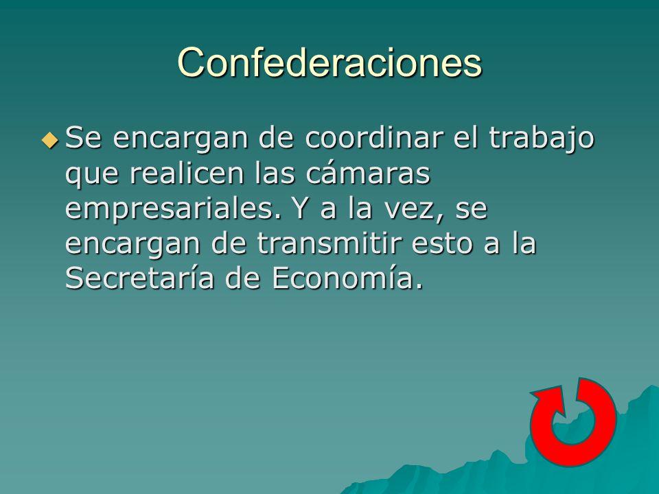 Confederaciones Se encargan de coordinar el trabajo que realicen las cámaras empresariales.