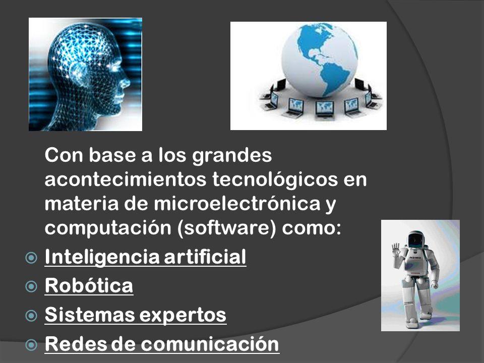 Con base a los grandes acontecimientos tecnológicos en materia de microelectrónica y computación (software) como: Inteligencia artificial Robótica Sis