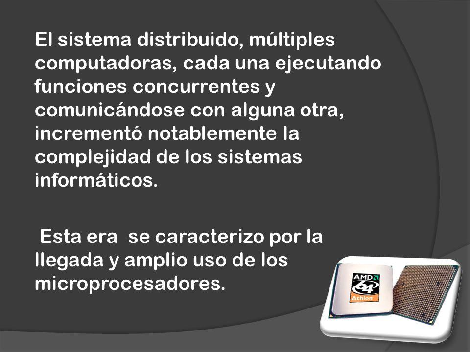 El sistema distribuido, múltiples computadoras, cada una ejecutando funciones concurrentes y comunicándose con alguna otra, incrementó notablemente la