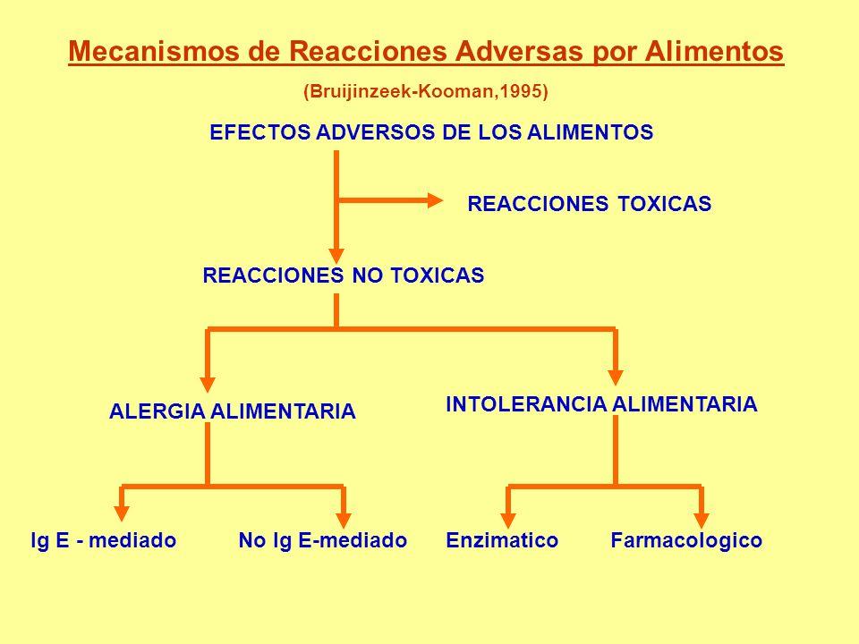 EFECTOS ADVERSOS DE LOS ALIMENTOS REACCIONES TOXICAS REACCIONES NO TOXICAS ALERGIA ALIMENTARIA INTOLERANCIA ALIMENTARIA Ig E - mediadoNo Ig E-mediadoE