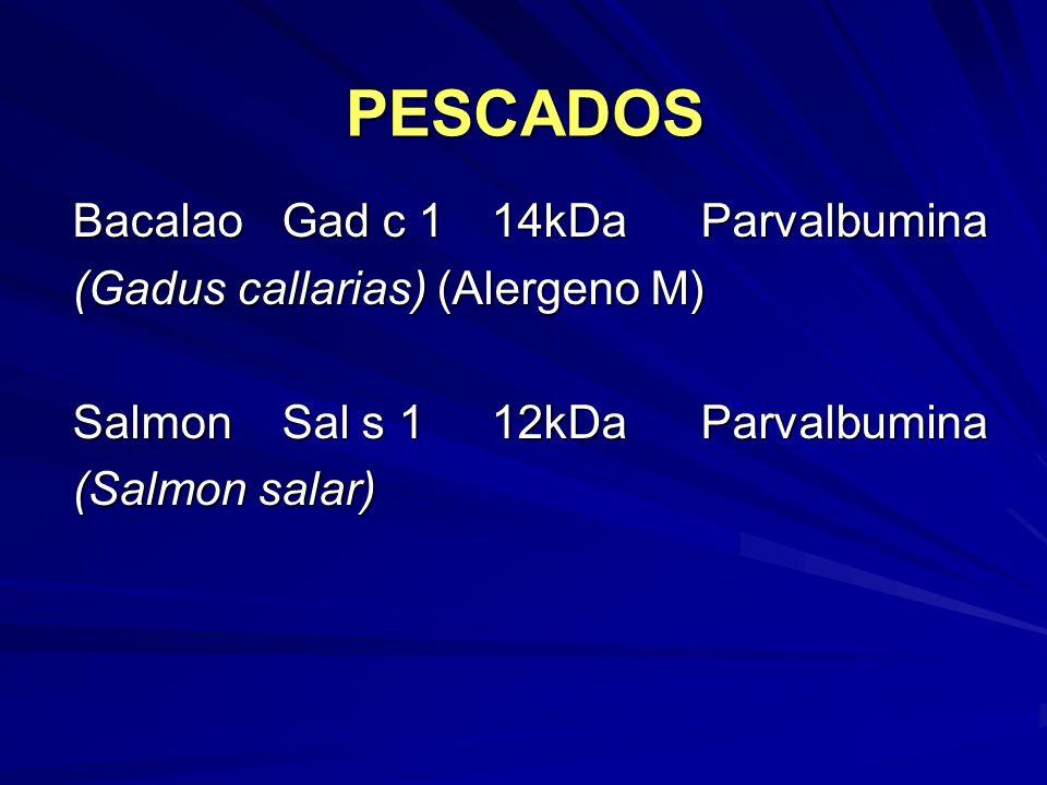 PESCADOS BacalaoGad c 1 14kDaParvalbumina (Gadus callarias) (Alergeno M) SalmonSal s 112kDaParvalbumina (Salmon salar)