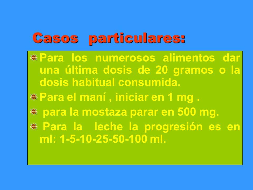 Casos particulares: Para los numerosos alimentos dar una última dosis de 20 gramos o la dosis habitual consumida. Para el maní, iniciar en 1 mg. para