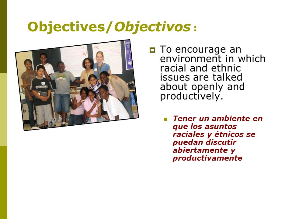 To encourage an environment in which racial and ethnic issues are talked about openly and productively.