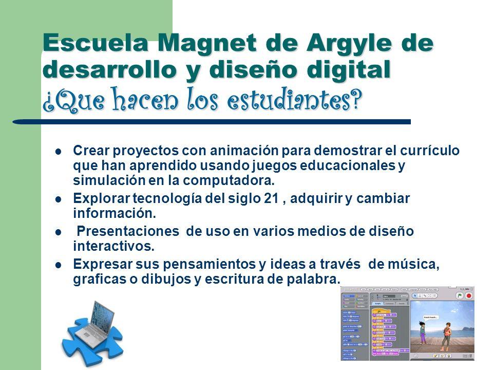 Escuela Magnet de Argyle de desarrollo y diseño digital ¿Que hacen los estudiantes? Crear proyectos con animación para demostrar el currículo que han
