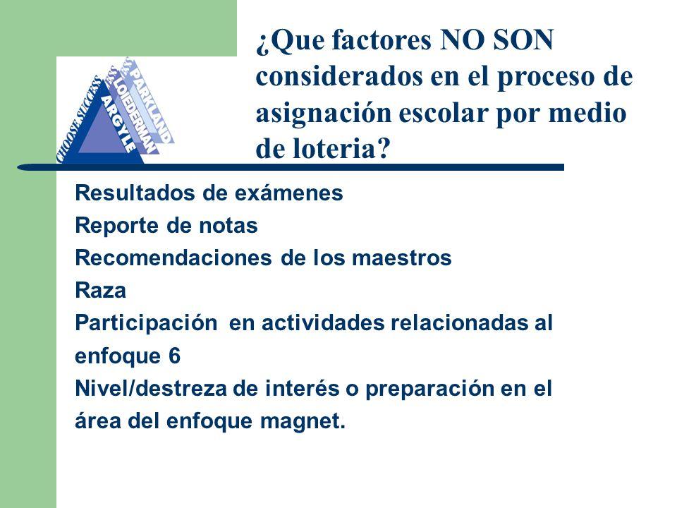 Resultados de exámenes Reporte de notas Recomendaciones de los maestros Raza Participación en actividades relacionadas al enfoque 6 Nivel/destreza de