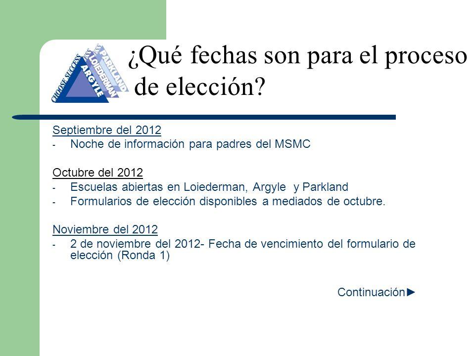Septiembre del 2012 - Noche de información para padres del MSMC Octubre del 2012 - Escuelas abiertas en Loiederman, Argyle y Parkland - Formularios de