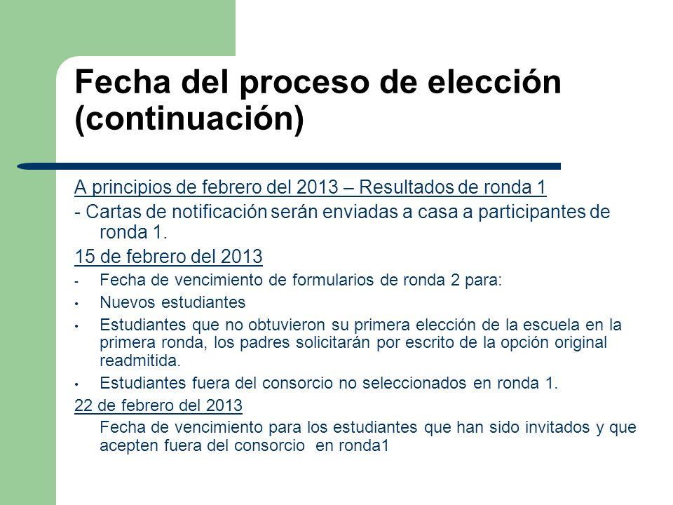 Fecha del proceso de elección (continuación) A principios de febrero del 2013 – Resultados de ronda 1 - Cartas de notificación serán enviadas a casa a participantes de ronda 1.