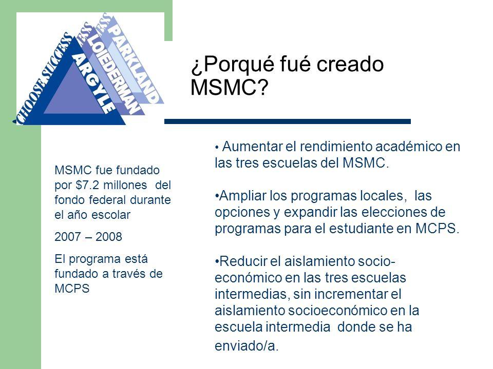 ¿Porqué fué creado MSMC? MSMC fue fundado por $7.2 millones del fondo federal durante el año escolar 2007 – 2008 El programa está fundado a través de