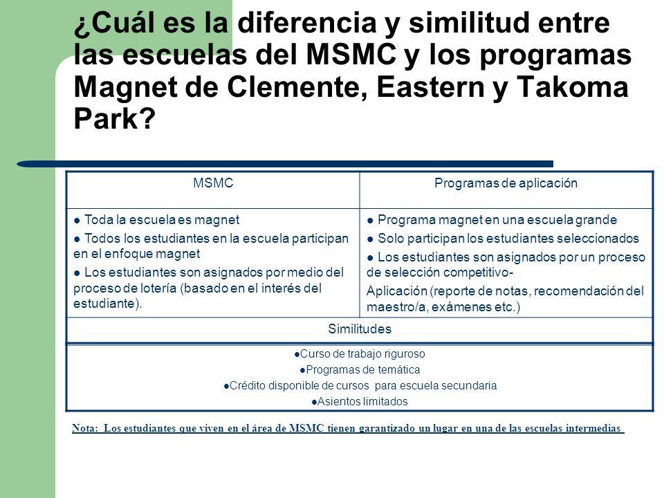 ¿Cuál es la diferencia y similitud entre las escuelas del MSMC y los programas Magnet de Clemente, Eastern y Takoma Park? MSMCProgramas de aplicación