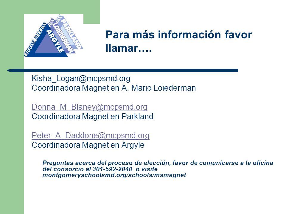 Kisha_Logan@mcpsmd.org Coordinadora Magnet en A.