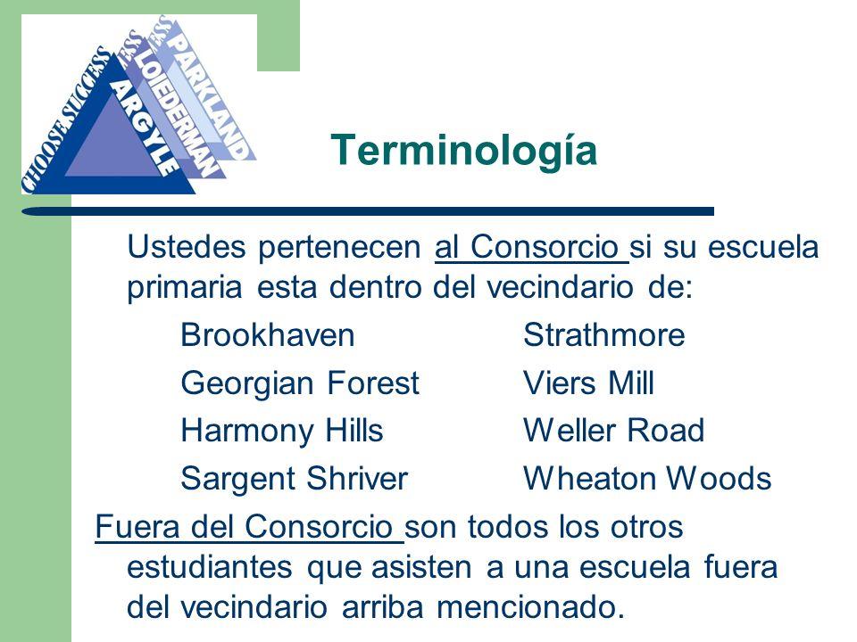 Terminología Ustedes pertenecen al Consorcio si su escuela primaria esta dentro del vecindario de: BrookhavenStrathmore Georgian ForestViers Mill Harm