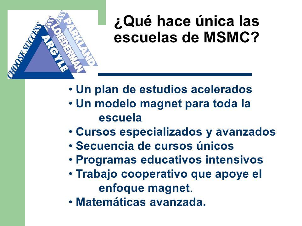 ¿Qué hace única las escuelas de MSMC? Un plan de estudios acelerados Un modelo magnet para toda la escuela Cursos especializados y avanzados Secuencia