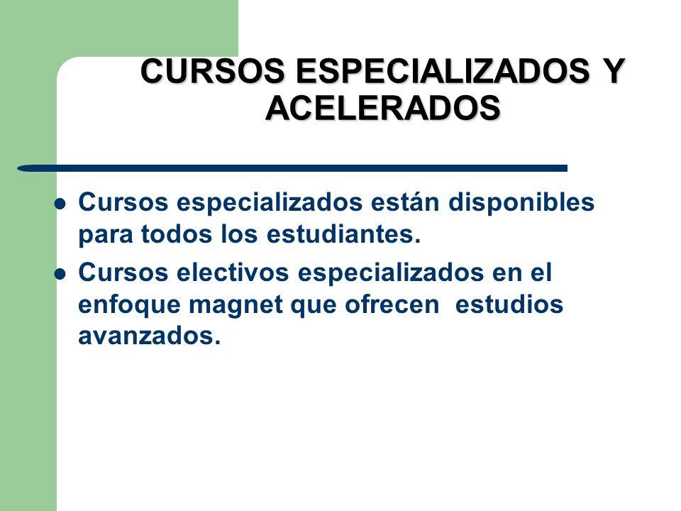 CURSOS ESPECIALIZADOS Y ACELERADOS Cursos especializados están disponibles para todos los estudiantes. Cursos electivos especializados en el enfoque m