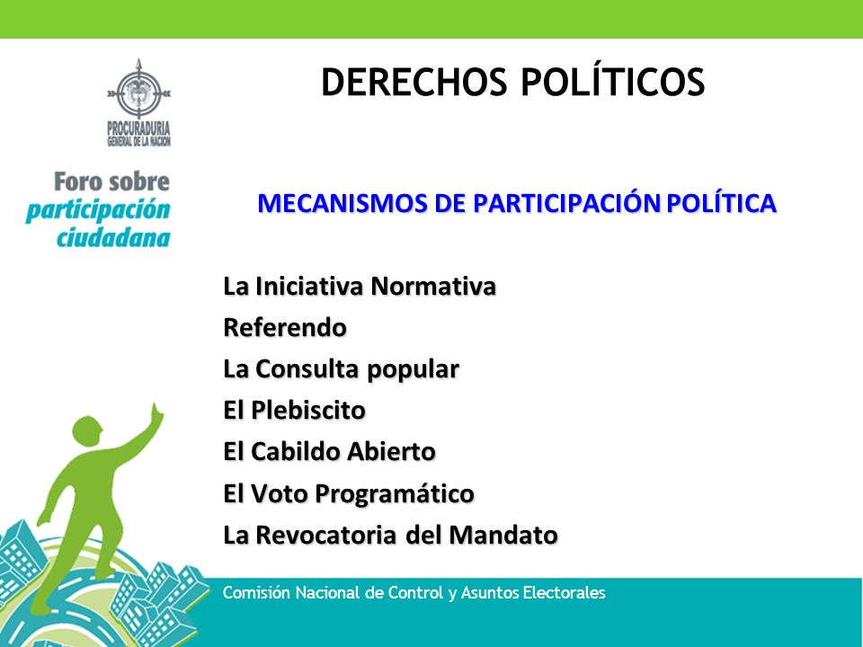 DERECHOS POLÍTICOS Comisión Nacional de Control y Asuntos Electorales MECANISMOS DE PARTICIPACIÓN POLÍTICA La Iniciativa Normativa Referendo La Consul