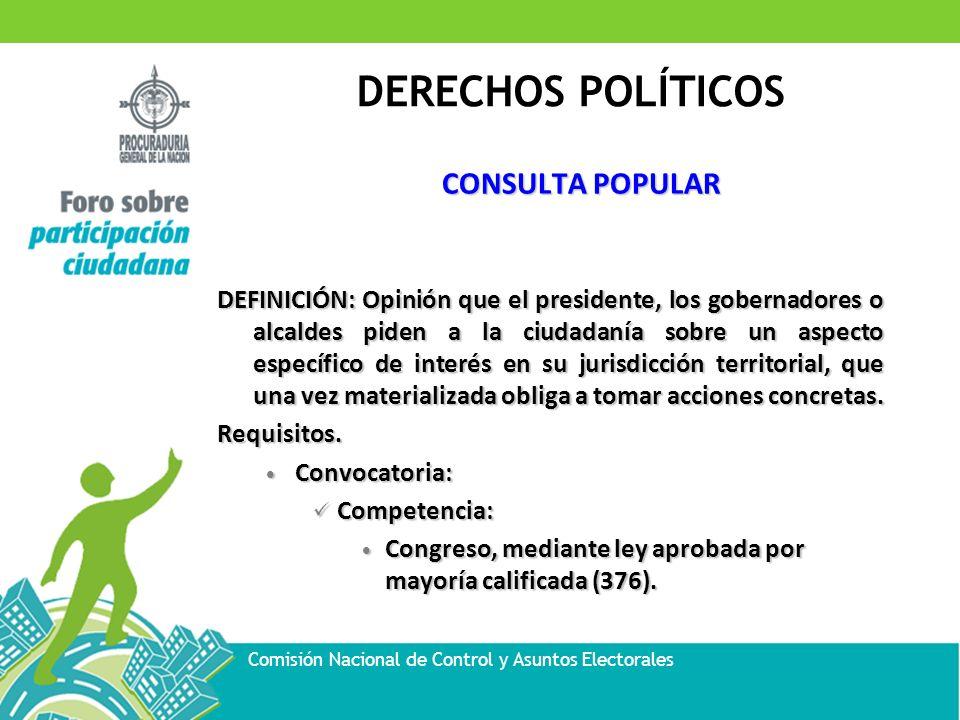 DERECHOS POLÍTICOS Comisión Nacional de Control y Asuntos Electorales CONSULTA POPULAR DEFINICIÓN: Opinión que el presidente, los gobernadores o alcal