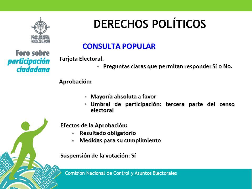 DERECHOS POLÍTICOS Comisión Nacional de Control y Asuntos Electorales CONSULTA POPULAR Tarjeta Electoral. Preguntas claras que permitan responder Sí o