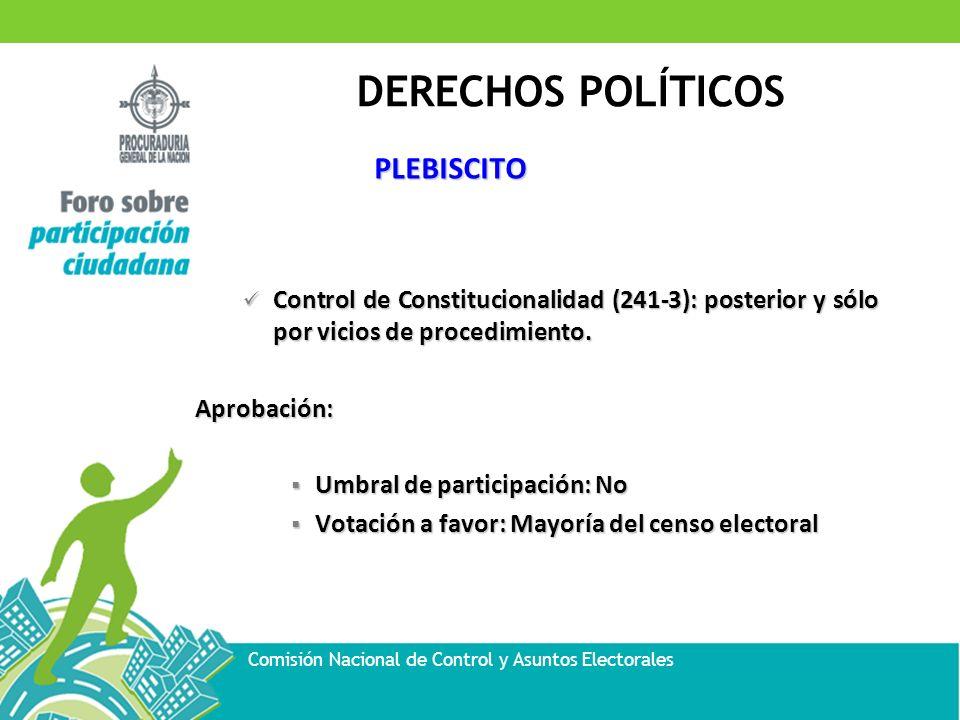DERECHOS POLÍTICOS Comisión Nacional de Control y Asuntos Electorales PLEBISCITO Control de Constitucionalidad (241-3): posterior y sólo por vicios de