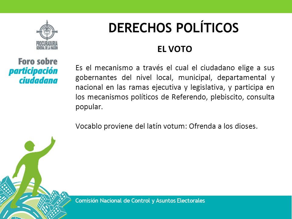 DERECHOS POLÍTICOS Comisión Nacional de Control y Asuntos Electorales EL VOTO Es el mecanismo a través el cual el ciudadano elige a sus gobernantes de