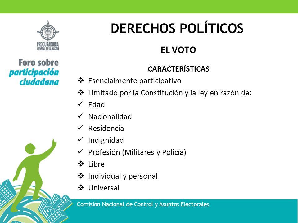 DERECHOS POLÍTICOS Comisión Nacional de Control y Asuntos Electorales EL VOTO CARACTERÍSTICAS Esencialmente participativo Limitado por la Constitución