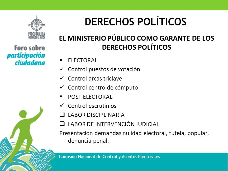 DERECHOS POLÍTICOS Comisión Nacional de Control y Asuntos Electorales EL MINISTERIO PÚBLICO COMO GARANTE DE LOS DERECHOS POLÍTICOS ELECTORAL Control p