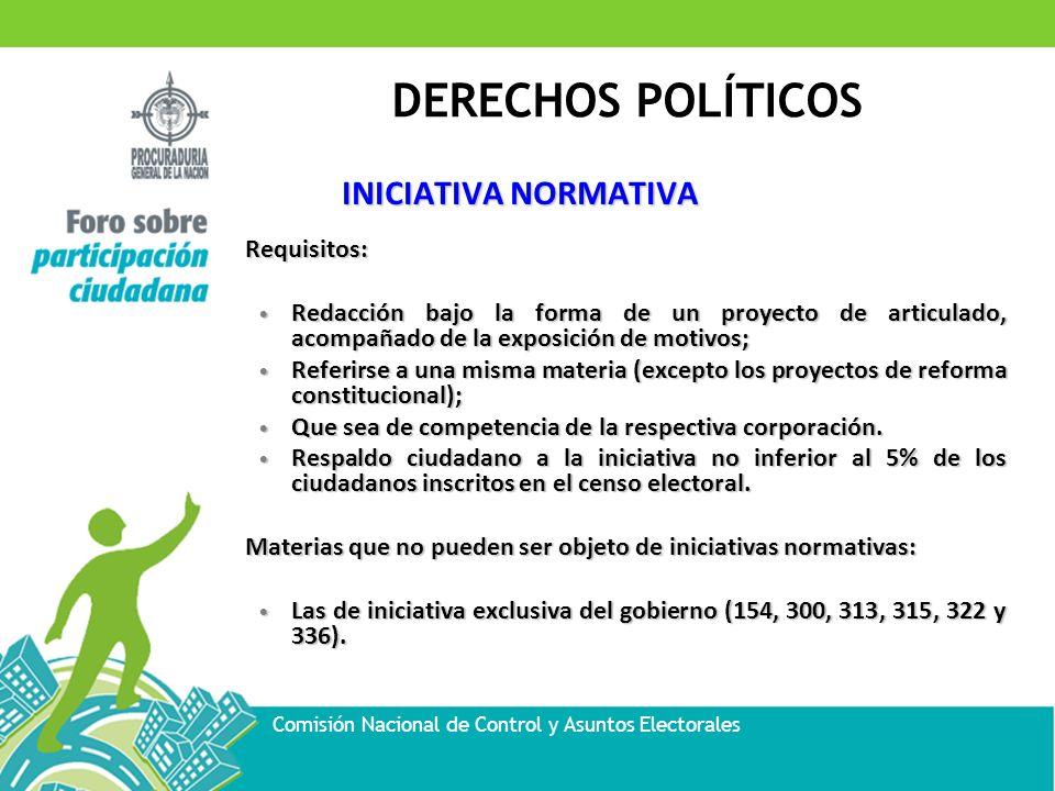 DERECHOS POLÍTICOS Comisión Nacional de Control y Asuntos Electorales INICIATIVA NORMATIVA Requisitos: Redacción bajo la forma de un proyecto de artic