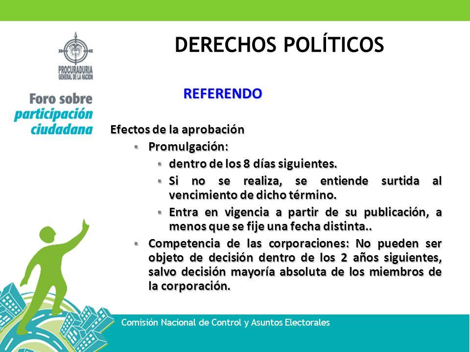 DERECHOS POLÍTICOS Comisión Nacional de Control y Asuntos Electorales REFERENDO Efectos de la aprobación Promulgación: Promulgación: dentro de los 8 d