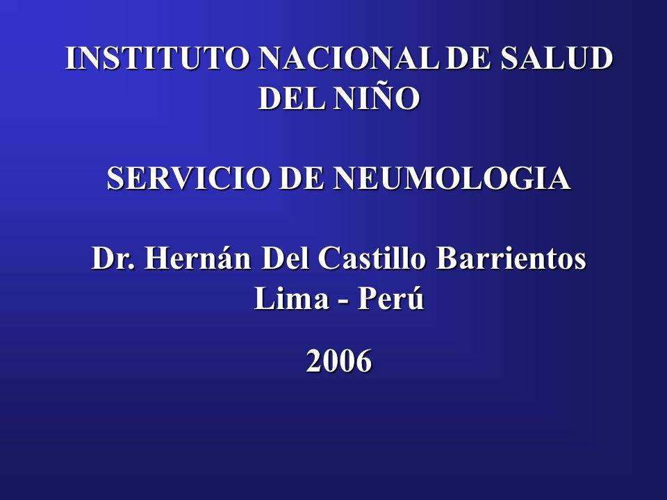 INSTITUTO NACIONAL DE SALUD DEL NIÑO SERVICIO DE NEUMOLOGIA Dr. Hernán Del Castillo Barrientos Lima - Perú 2006