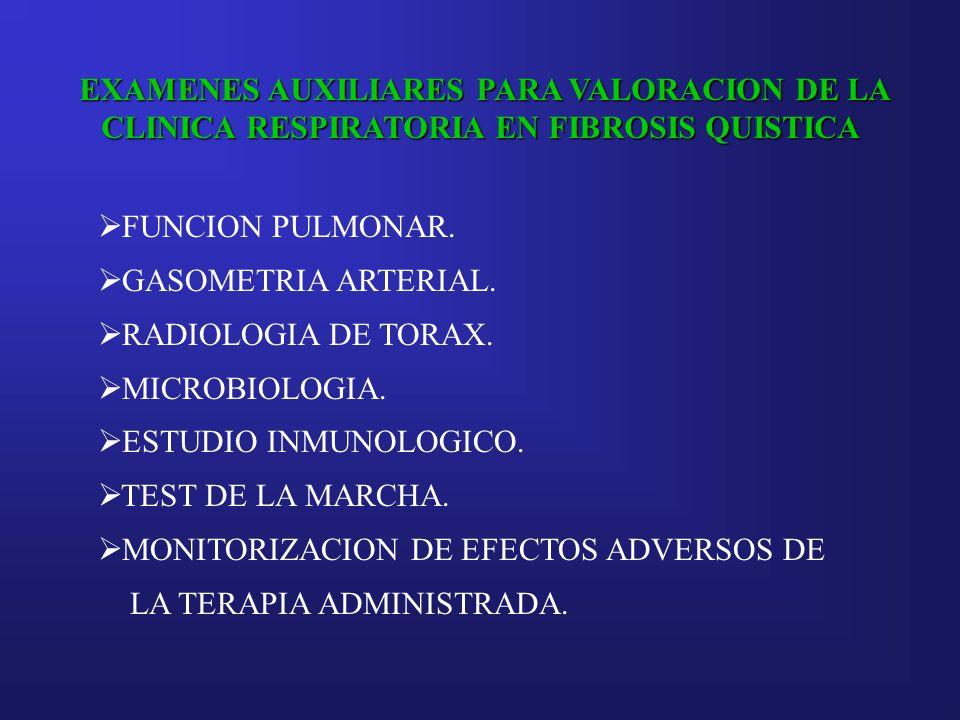 EXAMENES AUXILIARES PARA VALORACION DE LA CLINICA RESPIRATORIA EN FIBROSIS QUISTICA FUNCION PULMONAR. GASOMETRIA ARTERIAL. RADIOLOGIA DE TORAX. MICROB