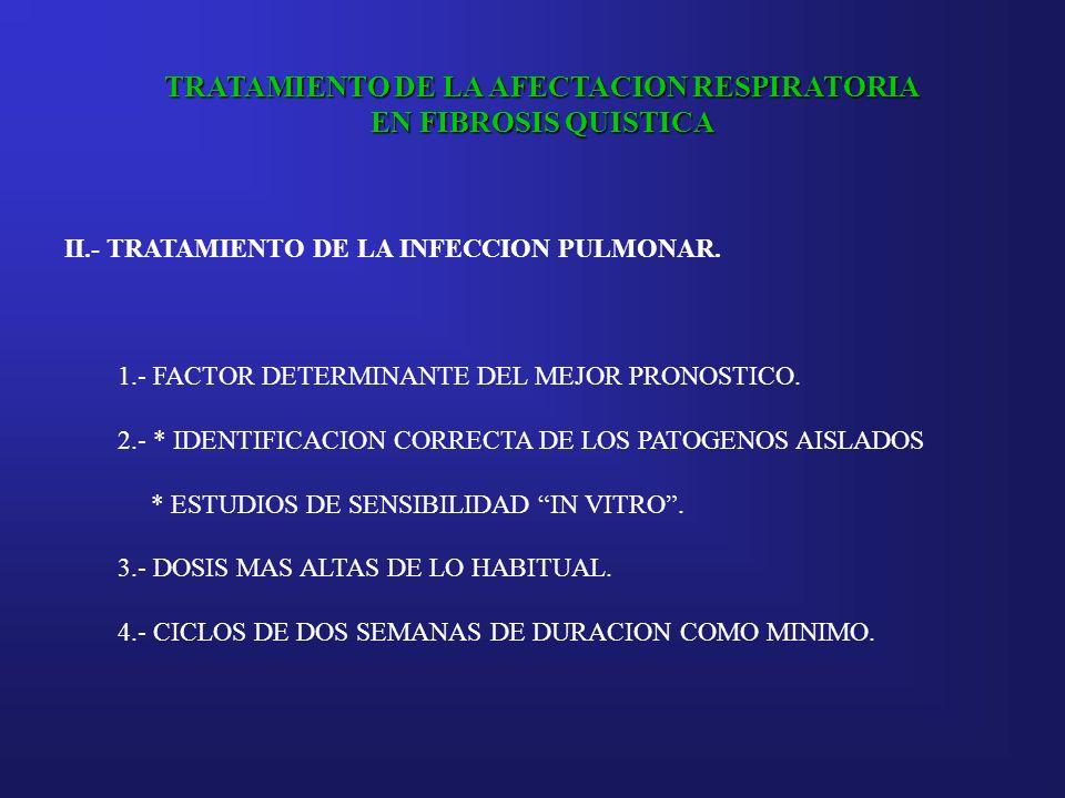 TRATAMIENTO DE LA AFECTACION RESPIRATORIA EN FIBROSIS QUISTICA II.- TRATAMIENTO DE LA INFECCION PULMONAR. 1.- FACTOR DETERMINANTE DEL MEJOR PRONOSTICO