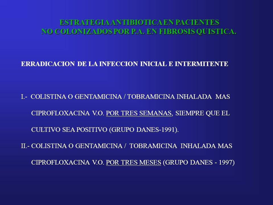 ESTRATEGIA ANTIBIOTICA EN PACIENTES NO COLONIZADOS POR P.A. EN FIBROSIS QUISTICA. ERRADICACION DE LA INFECCION INICIAL E INTERMITENTE I.- COLISTINA O
