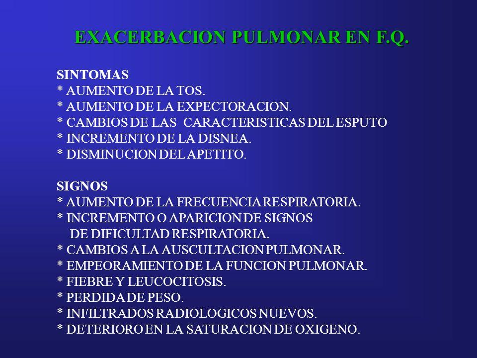 EXACERBACION PULMONAR EN F.Q. SINTOMAS * AUMENTO DE LA TOS. * AUMENTO DE LA EXPECTORACION. * CAMBIOS DE LAS CARACTERISTICAS DEL ESPUTO * INCREMENTO DE