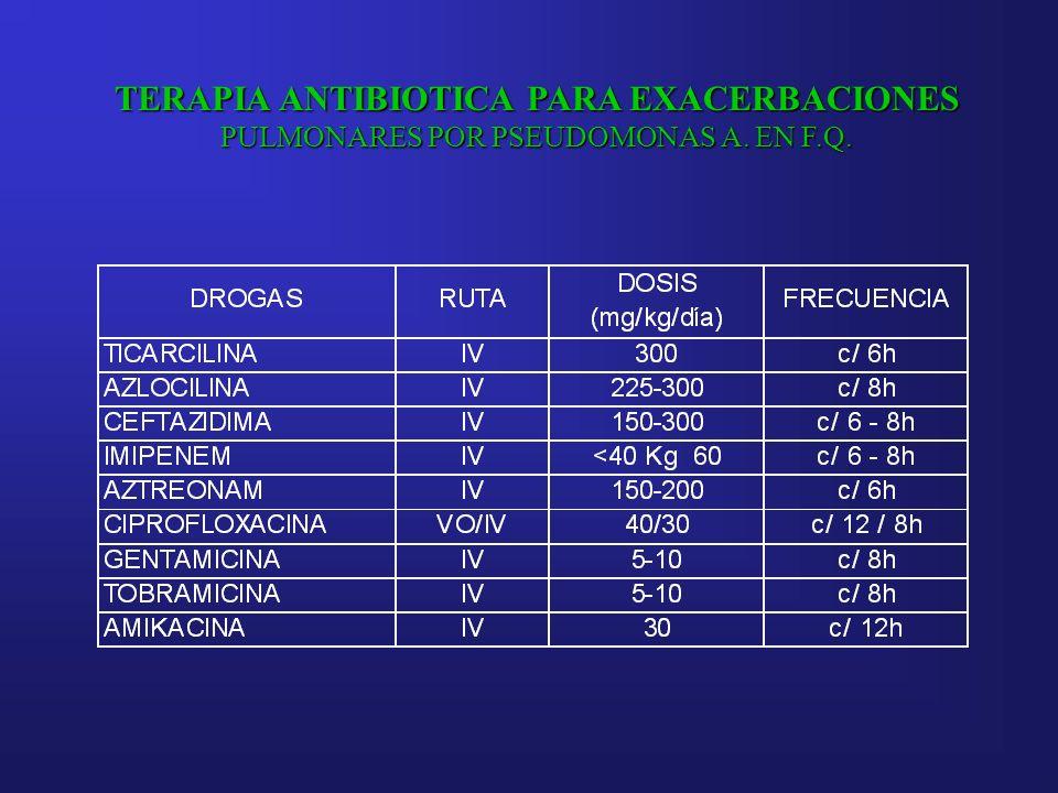 TERAPIA ANTIBIOTICA PARA EXACERBACIONES PULMONARES POR PSEUDOMONAS A. EN F.Q.