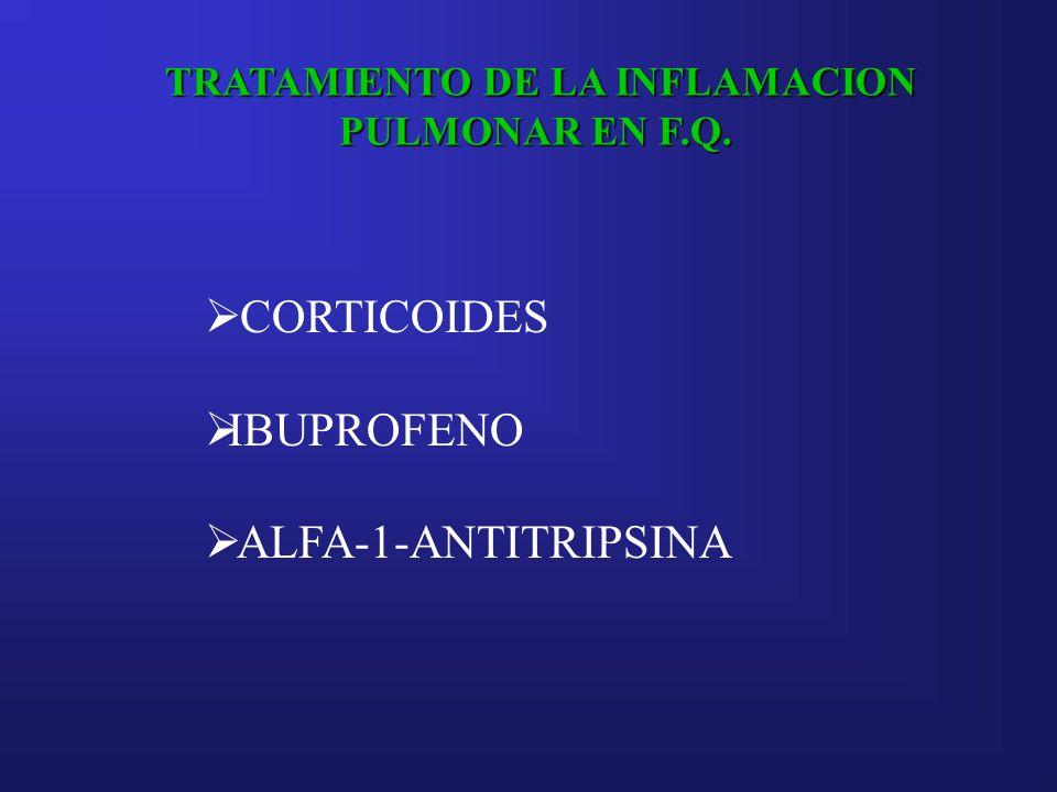 TRATAMIENTO DE LA INFLAMACION PULMONAR EN F.Q. CORTICOIDES IBUPROFENO ALFA-1-ANTITRIPSINA