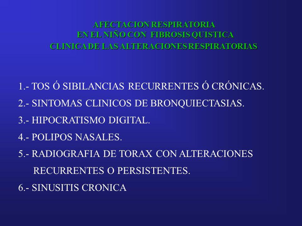 AFECTACION RESPIRATORIA EN EL NIÑO CON FIBROSIS QUISTICA EN EL NIÑO CON FIBROSIS QUISTICA CLINICA DE LAS ALTERACIONES RESPIRATORIAS 1.- TOS Ó SIBILANC