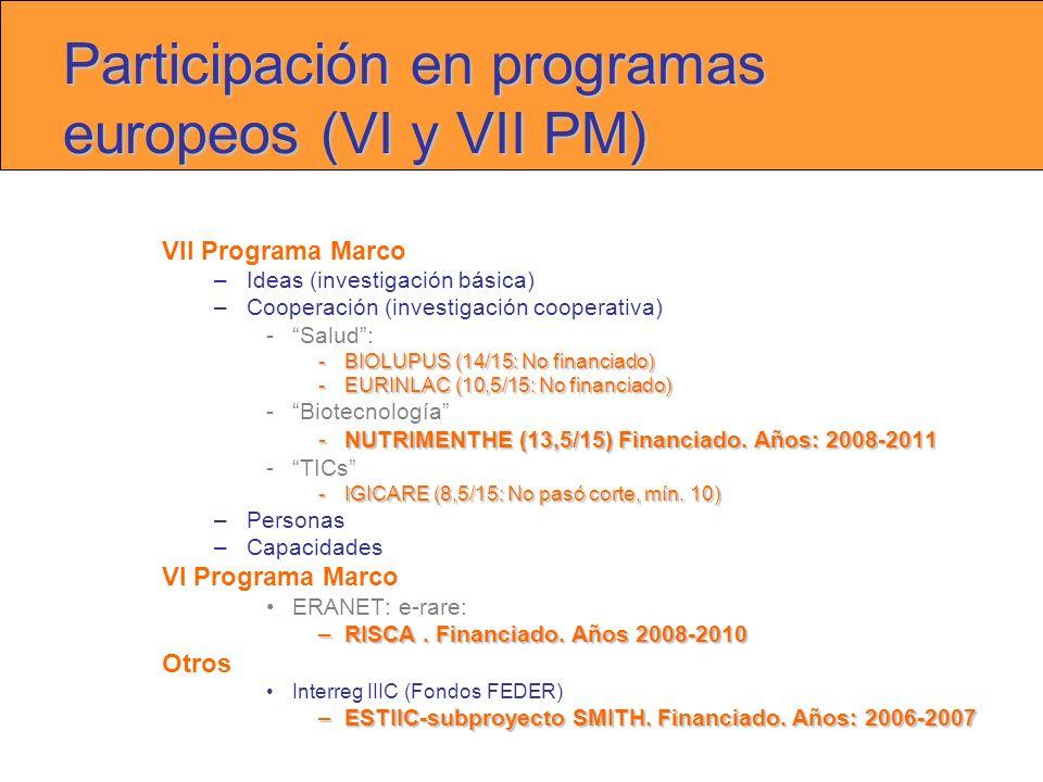 Participación en programas europeos (VI y VII PM) VII Programa Marco –Ideas (investigación básica) –Cooperación (investigación cooperativa) -Salud: -BIOLUPUS (14/15: No financiado) -EURINLAC (10,5/15: No financiado) -Biotecnología -NUTRIMENTHE (13,5/15) Financiado.