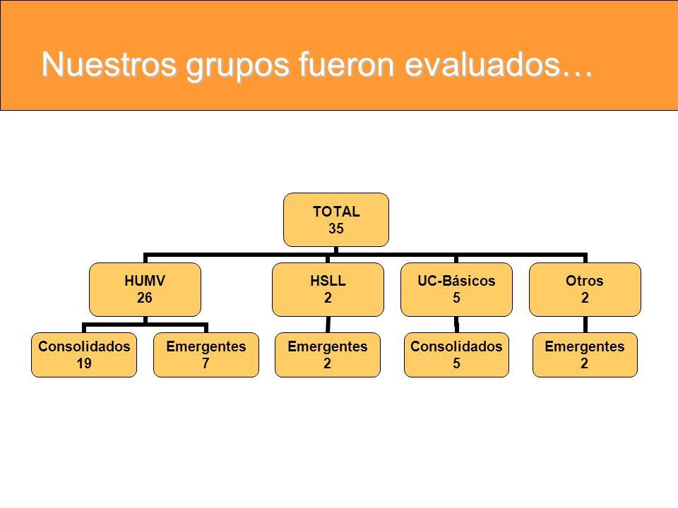 Nuestros grupos fueron evaluados… TOTAL 35 HUMV 26 Consolidados 19 Emergentes 7 HSLL 2 Emergentes 2 UC-Básicos 5 Consolidados 5 Otros 2 Emergentes 2