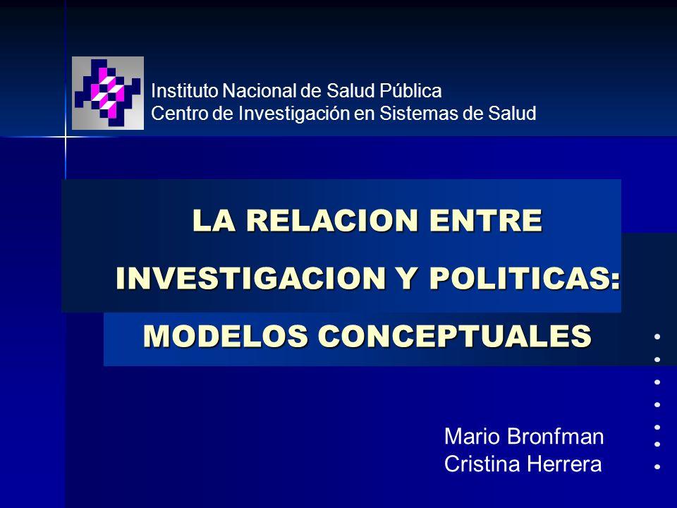 Instituto Nacional de Salud Pública Centro de Investigación en Sistemas de Salud Mario Bronfman Cristina Herrera Mario Bronfman Cristina Herrera LA RE