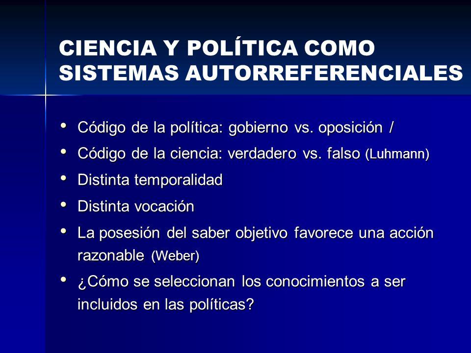 Código de la política: gobierno vs. oposición / Código de la política: gobierno vs. oposición / Código de la ciencia: verdadero vs. falso (Luhmann) Có
