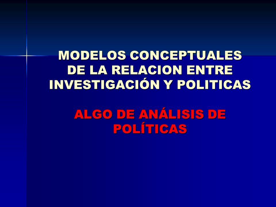 MODELOS CONCEPTUALES DE LA RELACION ENTRE INVESTIGACIÓN Y POLITICAS ALGO DE ANÁLISIS DE POLÍTICAS