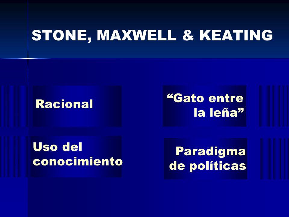 STONE, MAXWELL & KEATING Gato entre la leña Uso del conocimiento Paradigma de políticas Racional