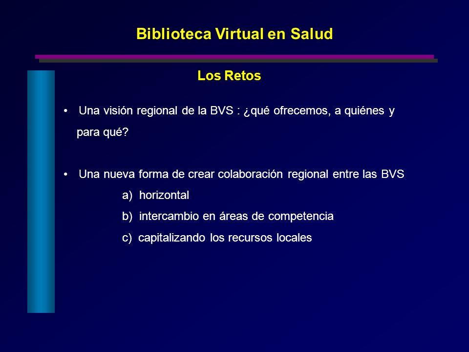 Una visión regional de la BVS : ¿qué ofrecemos, a quiénes y para qué? Una nueva forma de crear colaboración regional entre las BVS a) horizontal b) in