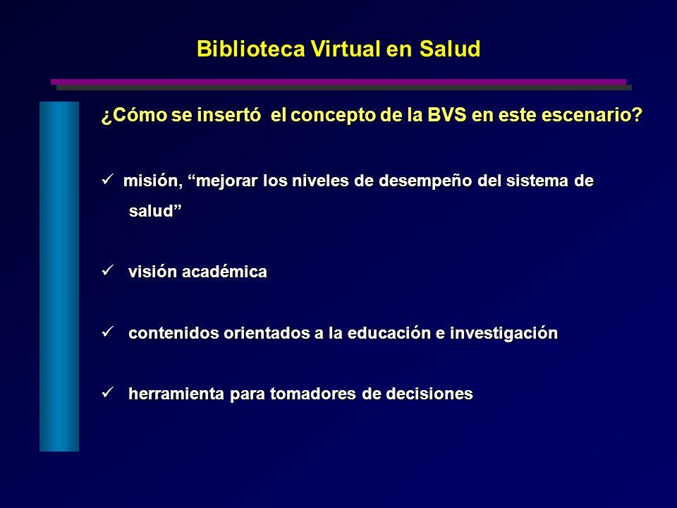 ¿Cómo se insertó el concepto de la BVS en este escenario? misión, mejorar los niveles de desempeño del sistema de misión, mejorar los niveles de desem