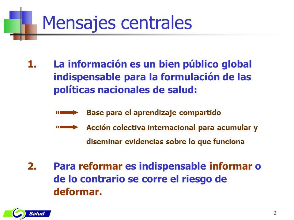 2 1.La información es un bien público global indispensable para la formulación de las políticas nacionales de salud: Base para el aprendizaje comparti