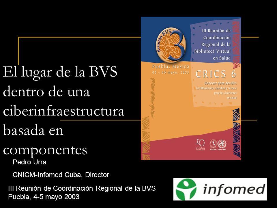 Pedro Urra Infomed-CNICM Cuba Puebla, 6 de mayo del 2003 El lugar de la BVS dentro de una ciberinfraestructura basada en componentes III Reunión de Co